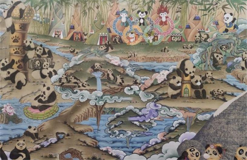 172米《大熊猫百图唐卡长卷》亮相成都