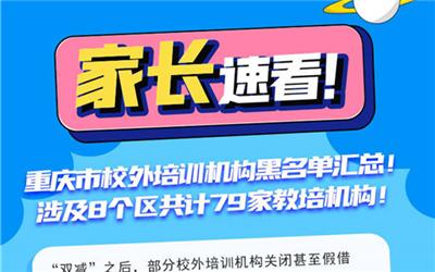 重庆市校外培训机构黑名单汇总!
